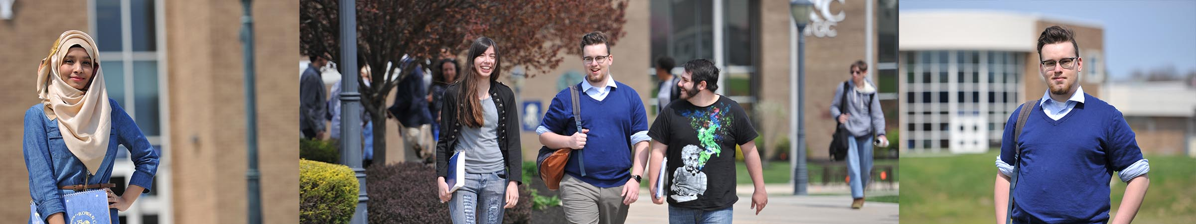 Rowan College students outside on campus