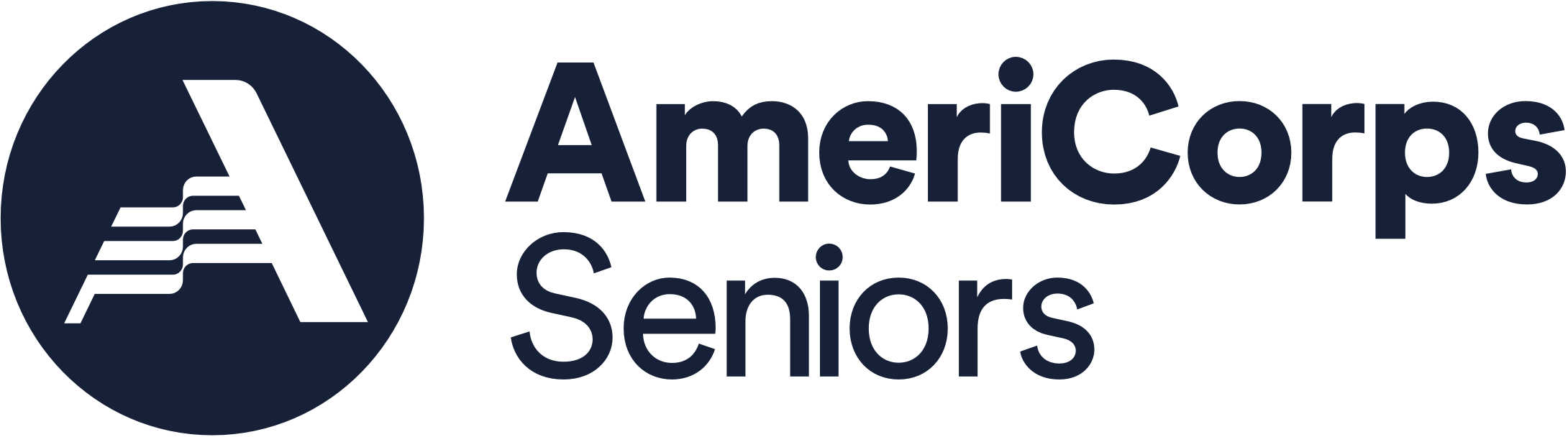 AmeriCorps logo featured in thick lettering with a navy blue color