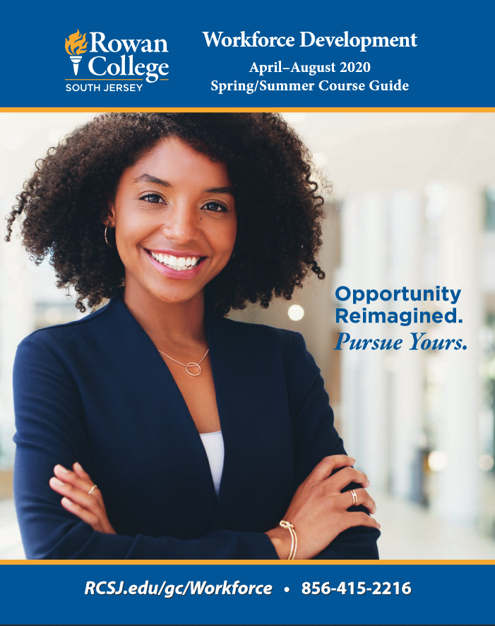 Woman Smiling in the cover of the Spring 2020 and Summer 2020 Workforce Catalog
